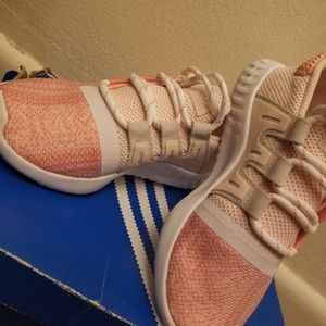 Pink Adidas tennis shoes